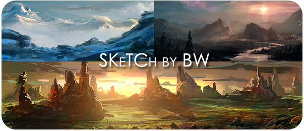 Рисованные наброски пейзажей