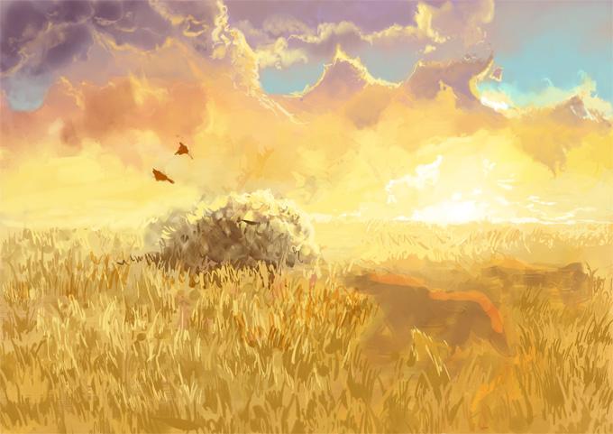 Процесс рисования травы в