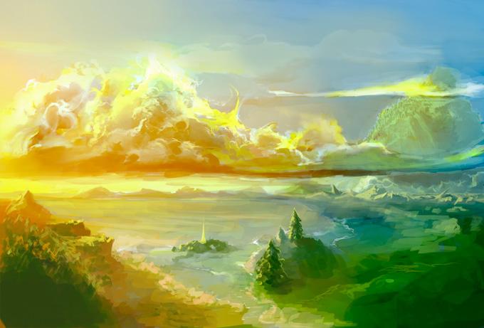 Рисование морского берега