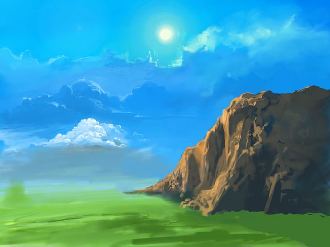 Дневной пейзаж в фотошопе