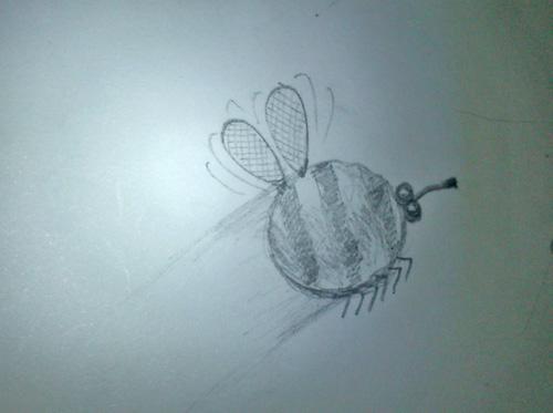 Рисованная оса карандашем