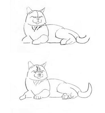 Как нарисовать лежачего кота